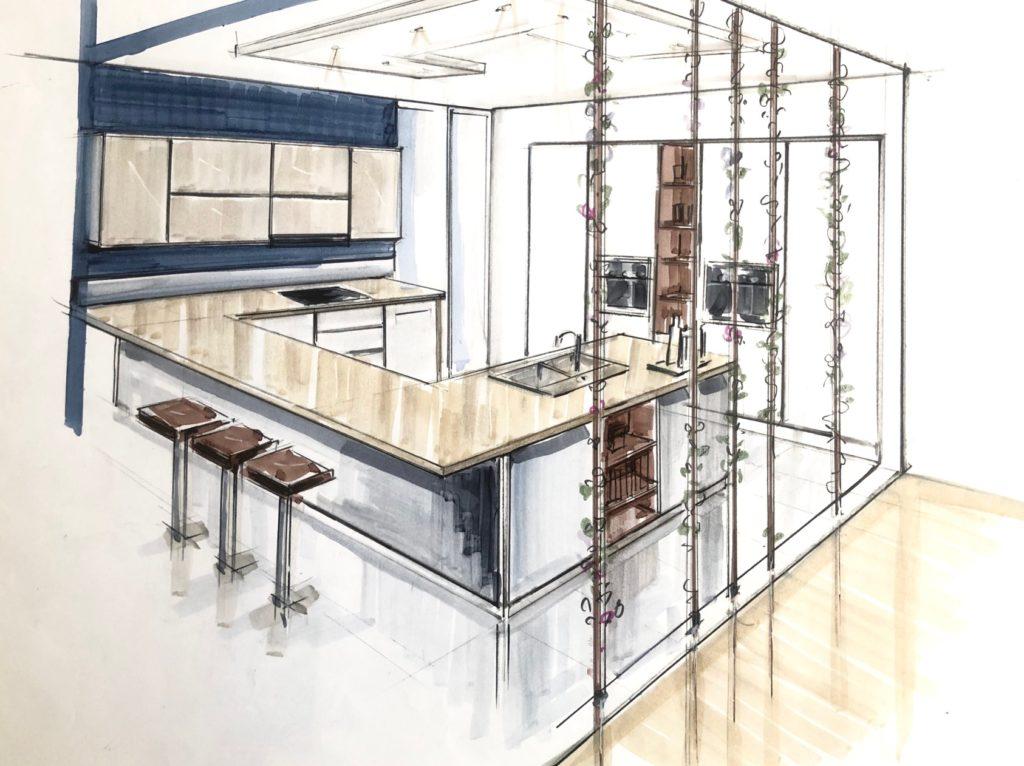 Croquis architecture d'intérieur Cuisine modèrne
