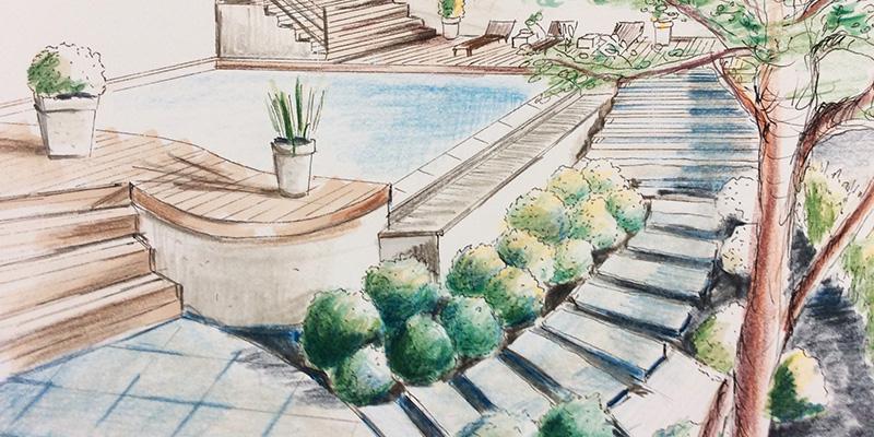 Croquis de paysage, Roughs de jardin, réalisé par Aga WERNER Atelier3113