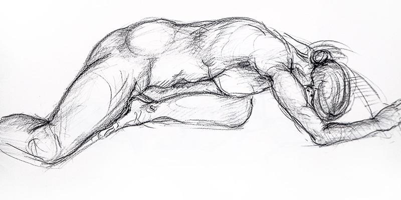 Dessin au crayon gras - Modele vivant par Aga Werner