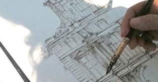Cours de dessin en plein air - dessin en perspective