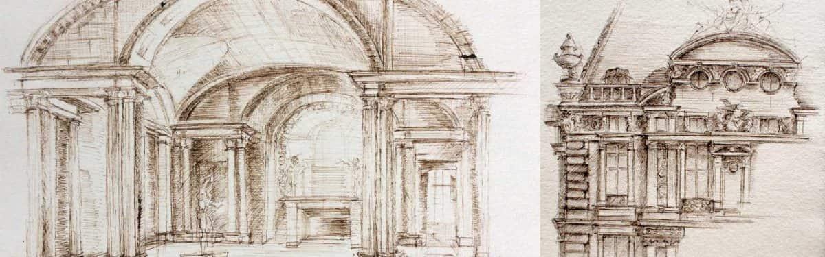 Croquis d'architecture à la plume - Louvre Paris