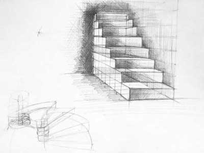 dessiner un escalier en perspective. Black Bedroom Furniture Sets. Home Design Ideas