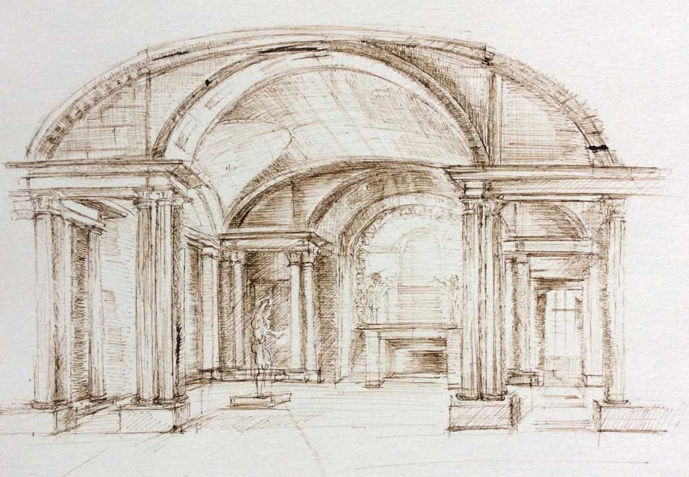 Dessin à l'encre et plume réalisé par Aga Werner au Louvre