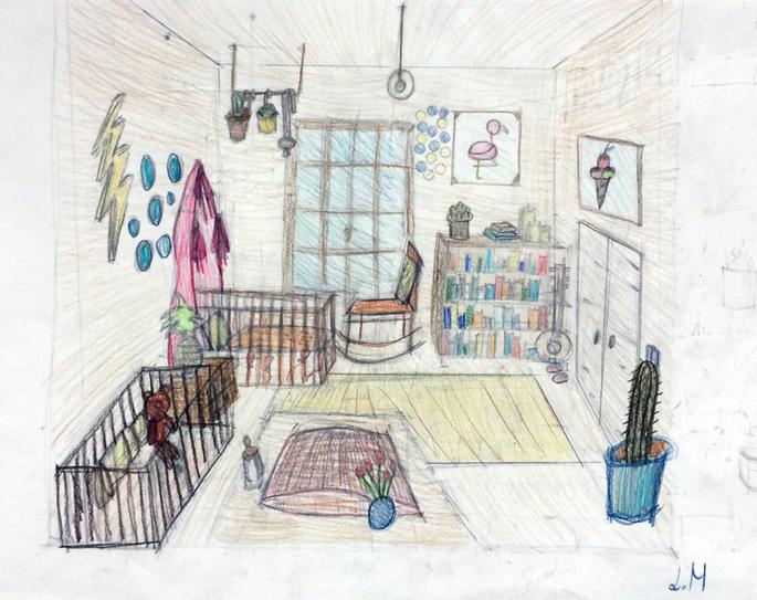 Cours de dessin pour des enfants et adolescents - Dessin en perspective réalisé par Léonie