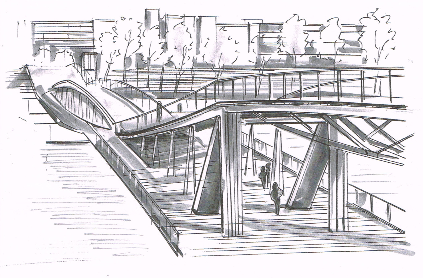 dessin d'architecture Passerelle Simone de Beauvoir Paris 13
